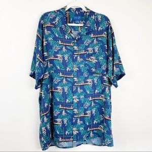 80s 90s Towncraft Palm Boat Button Down Shirt